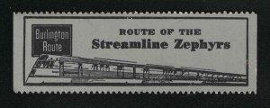 Route Of The Streamline Zephyrs - Vintage Poster Stamp - Burlington Route