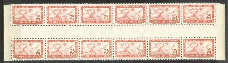 MEXICO Sc#C203 Gutter Block Strip of 12 stamps MINT NEVER HINGED