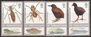 Tristan da Cunha - 1987 Indigenous Flightless Species - 4 Stamp Set #404-7