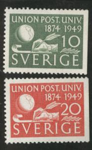 SWEDEN Scott 414-415 MH* 1949 UPU stamps