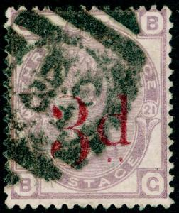 SG159, 3d on 3d lilac PLATE 21, USED. Cat £145. BG