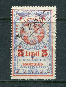 x418 - LITHUANIA 1920s Consular Fee REVENUE Stamp. 25 L Used