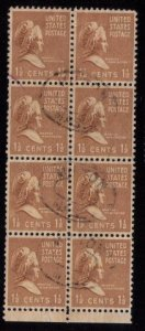 US Sc 805 Used Block Of Eight F-VF