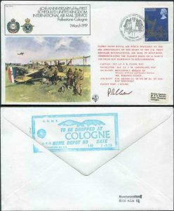 FF1-Ab 60th Ann of the 1st Scheduled UK Int Air Mail Service Pilot Signed (B)