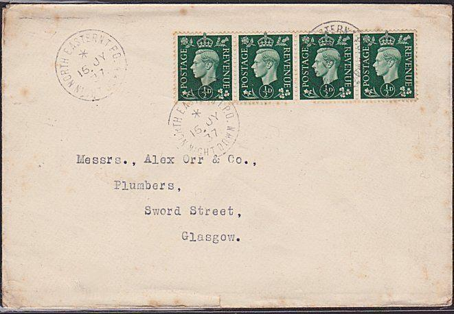 GB 1937 cover NORTH EASTERN TPO / NIGHT DOWN railway cds....................6401