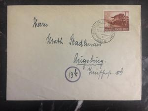 1944 Oslo Norway German Occupation Cover to Augsburg Germany