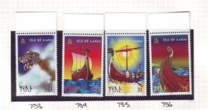 Isle of Man Sc 771-4 1998 Viking Long Ships stamp set  NH