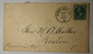 US Sc# 158 1870's Used On Cover Aumerd Cancel Cincinatti OH kenton Received Back