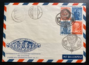 1954 Salzburg Austria Postal Stationery Balloon Flight Cover Pro Youth