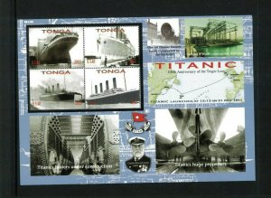Wholesale Lot Tonga #1178 Titanic. Perforated Mini Sheet. Cat.176.00 (11x16.00)