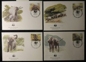 sri lanka 1986 WWF asian elephants 4 values FDC animals mammals