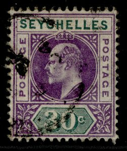 SEYCHELLES EDVII SG52, 30c violet & dull green FINE USED. Cat £20. WMK CA SINGLE