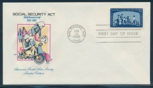#2153 (2) DIFF SOCIAL SECURITY ACT HANDPAINTED FDC CACHETS BV3187