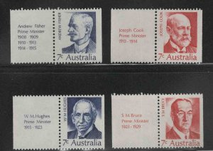 AUSTRALIA Scott 514-517  MH* 1972 Prime minister set with labels