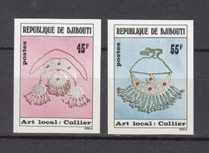 DJIBOUTI SC# 475-476 LOCAL ART -MNH -  IMPERF SET