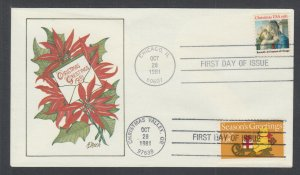 US Pl 1939-1940-C FDC. 1981 Christmas, American FDC Society FIRST CACHET, Dual x