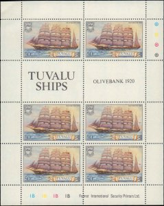 Tuvalu #151-156, Complete Set(6), Sheets of 6, 1981, Ships, Never Hinged