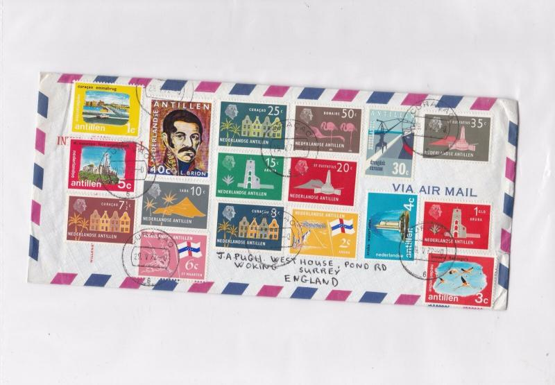 netherlands antillen large multi stamps  stamps cover ref 12973