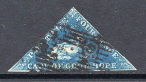 Cape of Good Hope 1853 4d triangle on slightly blued paper SG 4 used CV £170
