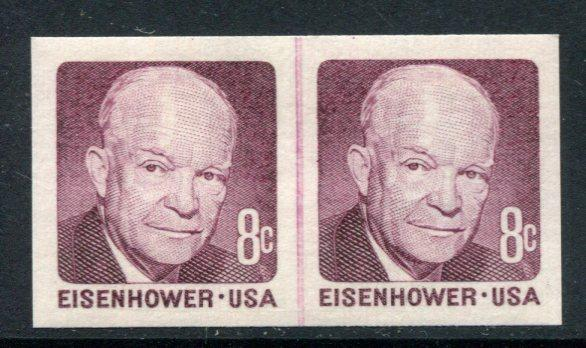 U.S.1402a 8-cent Eisenhower Imperforate Error Joint Line Pair, MNH