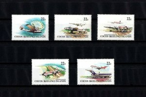 COCOS ISLANDS - 1981 - AIRCRAFT - AIR SERVICE - BOEING - DOUGLAS + 5 X MNH SET!