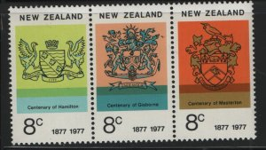 NEW ZEALAND,617A, STRIP OF 3, MNH, 1977, Arms and emblems
