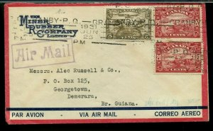 SUPERB  1931 45c airmail to BRITISH GUIANA commercial cover Canada