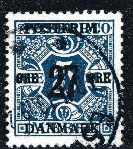 Denmark 1914 Newspaper Stamp 27 Ore Surcharge (Scott #146) VF USED Cat $22.50