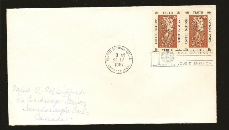 United Nations 174 Pair Peace 1967 First Day Cover Used