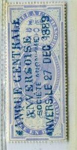 BELGIUM; Early 1880s Leopold used classic Revenue issue used value, 25c