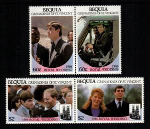 St. Vincent Bequia MNH 232-3 Pairs Royal Wedding Prince Andrew & Sarah