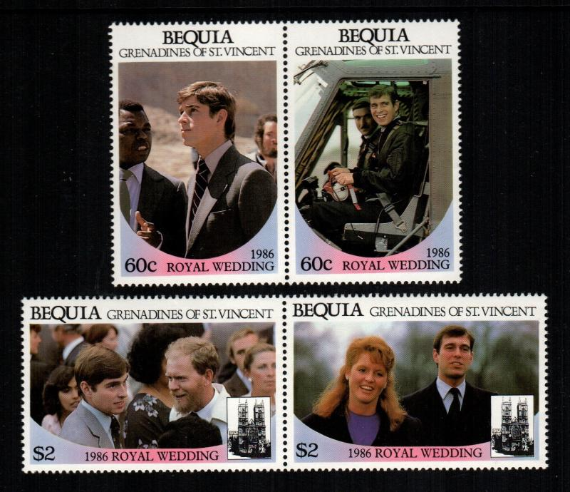 St. Vincent Bequia MNH 232-3 Pairs Royal Wedding Prince Andrew & Sarah 1986