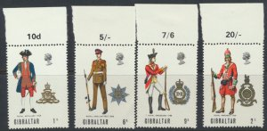 Gibraltar SG 240-243  SC# 226-229 Military Uniforms 1969 MNH  Used  see scans
