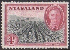 Nyasaland 1945 4d Tobacco  MH