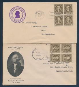 #704 ON (2) DIFF FDC CACHET WASHINGTON JAN 1,1932 CV $36 BU1521