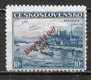 Slovakia 23 10k Overprint single Unused Hinged Gum Disturbed
