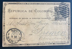 1901 Colombia Postal Stationery Postcard  Cover To Bremen Germany