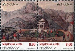 Croatia 2020. Ancient postal routes (MNH OG) Block of 2 stamps
