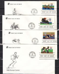 United States, Scott cat. 1791-1794. Summer Olympics issue. 4 First day covers.