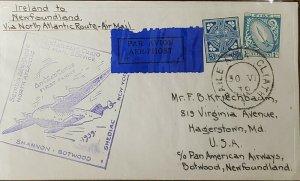 Ireland 1939 Pan Am Flight To Botwood Newfoundland Cover