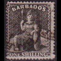 BARBADOS 1872 - Scott# 35 Britannia 1p Used
