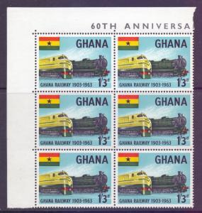 Ghana Scott 158 - SG326, 1963 Trains 1/3d Block of 6 MNH**