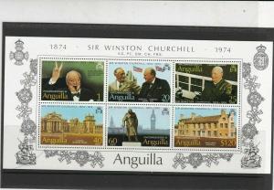 Anguilla 1974 Centenary Birth Sir Winston Churchill MNH Stamps Sheet Ref 27142