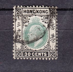 J28277 1904-11 hong kong used #99 king wmk 3