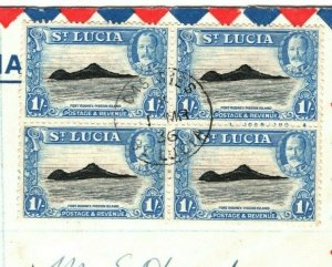 ST LUCIA 1936 FDC SG.121 KGV 1s *BLOCK OF FOUR* Registered First Day Cover MA560