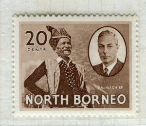 NORTH BORNEO; 1950 early GVI issue fine Mint hinged 20c. value