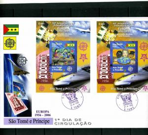 Sao Tome & Principe 2006 Europa CEPT (4) s/s Imperforated in (2) official FDC
