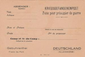 World War 1 France P.O.W. Postal Cards Unused for P.O.W. in Germany