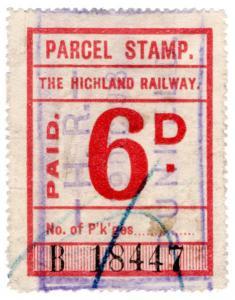 (I.B) The Highland Railway : Parcel Stamp 6d (Dunkeld)