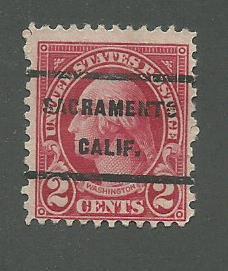 1923 USA Sacramento, Calif  Precancel on Scott Catalog Number 554